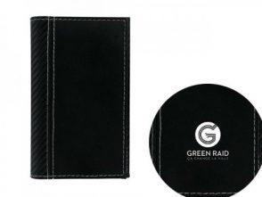 Porte carte grise noir surpiqure blanche