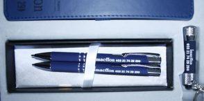 Coffret cadeau stylo bille porte-mines, lampe LED, bloc notes