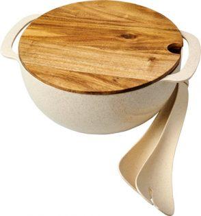 Saladier en fibre de paille de blé avec couverts de service