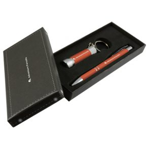 Coffret lampe torche LED porte-clés + stylo bille Soft-touch
